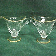 SALE Heisey Waverly Footed Creamer and Sugar Gold Trim