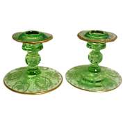 SALE Cambridge Green Glass Etched Gold Encrusted Candleholders