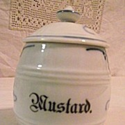 Germany Blue Onion Mustard Pot Blue & White