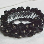 REDUCED FUN Black Expandable Cha-Cha Bracelet 1950's
