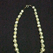Vintage Necklace Milk Glass Beads with Gold Overlay