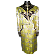 SALE Vintage Yellow and Black Chinese Silk 3/4 Length Jacket Robe