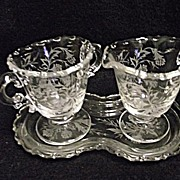 SALE Fostoria Etched Heather 3 Pc Mini Creamer Sugar and Tray Set