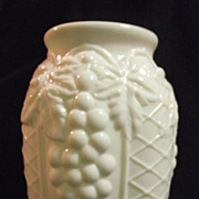 SALE RARE Westmoreland Milk Glass 1926 Pickle Jar Vase Grapes and Lattice