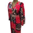 Womens Boho Hippie Maxi Dress Small Red Blue Bandana Print