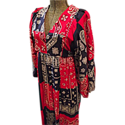 SALE Womens Boho Hippie Maxi Dress Small Red Blue Bandana Print