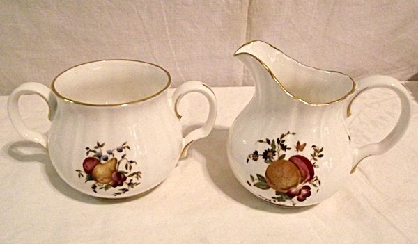 Royal Worcester Delecta Creamer and Open Sugar Hand Painted