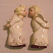 SALE Pair of Vintage Boy and Girl Kissing Angel Wall Pockets