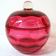 SALE Cranberry Glass Inverted Thumbprint Pattern Dresser Box