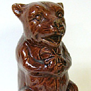 SALE Early 1900s Friendly Sitting Brown Bear Pottery Bank