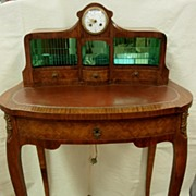 Beautiful French 19th Century Inlaid Basket Weave Ladies Writing Desk