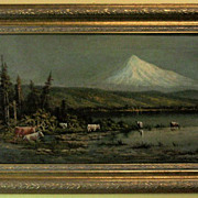 Original Oil Painting of Mt Hood Landscape with Cattle by Alexander M Wood