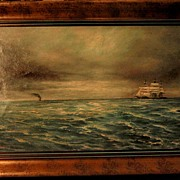 SOLD Early California Oil Painting of Ships on a Choppy Sea by Alexander Wood