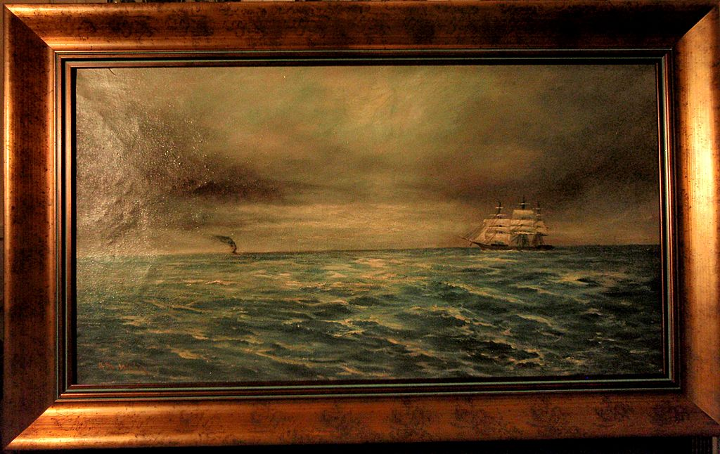 Early California Oil Painting of Ships on a Choppy Sea by Alexander Wood