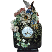 Spectacular French Barbotine Clock Late 1800's