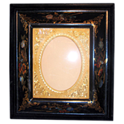 Magnificent Cast Iron Frame Exquisitely Painted & Inlaid with Mother of Pearl