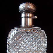 Cut Crystal and Silver Plate Ladies Liquor Flask