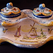 Splendid 19th Century French Faience Inkwell