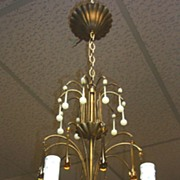 SALE PENDING Outstanding Chandelier with French Opaline Glass Beads & Prisms