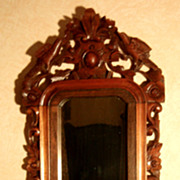 Spectacular Black Forest Carved Mirror Wall Sconce