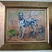 Superb Oil Painting of Great Dane signed Carl Georg Arsenius