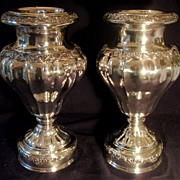 SALE Wonderful Old Pair of Large Silver Plated Urns