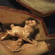 Carved Meerschaum Pipe/Cheroot Holder  with Dog