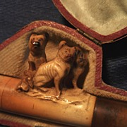 Beautifully Carved Meerschaum Cigarette Holder with Three Dogs