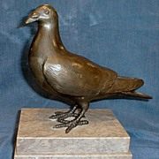 Bronze Pigeon on Tiered Marble Base