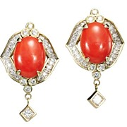 Dynamic Diamond & Coral Earrings