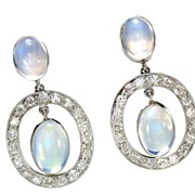 Celestial Moonstone Platinum Earrings