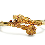 SALE With a Roar: Edwardian Lion Bangle Bracelet