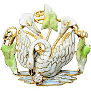 Le Cygne: Antique Enamel Swan Brooch & Watch Pin