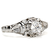 SALE Art Deco Solitaire Diamond Engagement Ring