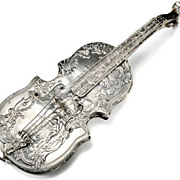 SALE Antique Musical Instrument Silver Perfume Bottle