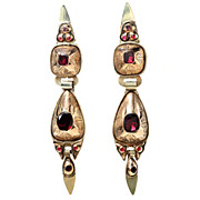 SALE Antique 18th C. Spanish Garnet Earrings