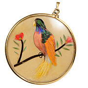 SALE Edwardian Double Sided Bird Pendant
