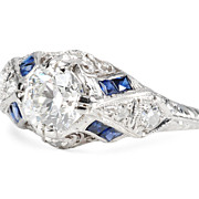 Scintillating 1.01 ct Diamond Art Deco Ring