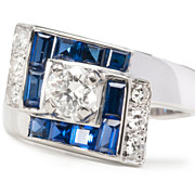 Dynamic Diamond Sapphire Ring