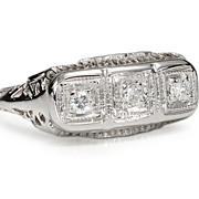 Trifecta of Diamonds: Mid 20th C. Ring