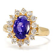 Purple Sapphire & Diamond Cluster Ring
