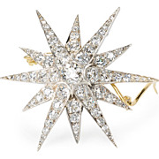 Starry Night - Victorian Diamond Star Brooch