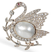 Poetry in Motion - Diamond Swan Brooch