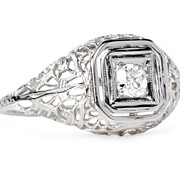 White Gold Trellis Solitaire Diamond Ring