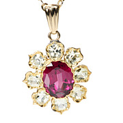 Flower Bright:: Antique Garnet & Chrysoberyl Pendant