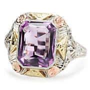 Three Color Golden Garden : Amethyst Ring