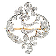 Art Nouveau Diamond Brooch