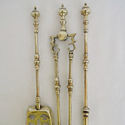 Rare & Unusual Antique Set of English Brass Fireplace Tools, Salesman Sample