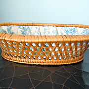 SALE Antique French Basket Lined with Toile