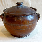 Large Old Dark Brown Glazed Pot with Cover and Handles, Redware